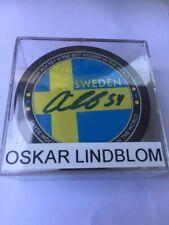 Oskar Lindblom Autographed Sweden Puck