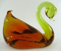 Vintage PILGRIM Glass Co. Amberina Glass Swan Figurine
