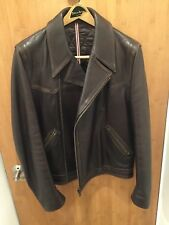 RARE Hugo Boss Brown Leather Bomber Biker Motorcycle Jacket Sz. L NWOT $2K+ Cost