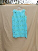 Linen sheath dress, aqua & chartreuse, 14P, Coldwater Creek