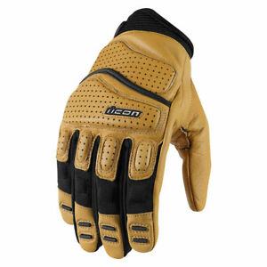 Icon Mens Tan/Black Leather Superduty 2 Motorcycle Gloves