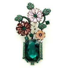 Vintage Jewelry Green Leaf Colored Crystal Flowers Green Vase Bonsai Brooch Pins