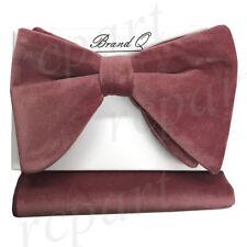 New in box Brand Q formal Men Pre-tied long velvet Bow tie & Hankie Mauve Pink