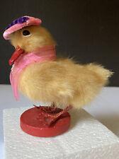 """Vintage Easter Duck ~ Fur Covered ~ Japan ~ 4"""" High"""