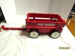 "RED WOODEN DOLL TEDDY BEAR RED WAGON WHEELS TURN 12"" LONG 6 1/2"" HIGH"