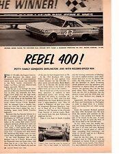 1966 REBEL 400 RACE / RICHARD PETTY WINNER (BELVEDERE) ~ ORIGINAL 3-PAGE ARTICLE