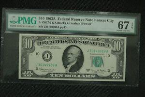 1963 A $10 Fr. 2017-J FRN  Kansas City 67 EPQ Superb Gem Uncirculated