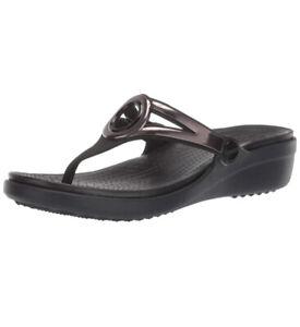 Crocs Sanrah Metallic Strap Wedge (Black/Silver) 205996-067 NEW