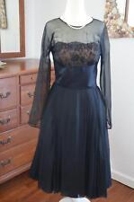 Omg! Vtg 50s Silk Chiffon & Satin Shelf Bust Illusion Full Skirt Party Dress! Xs