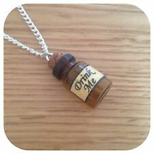 Alice in Wonderland mini drink me bottle charm minature necklace BV
