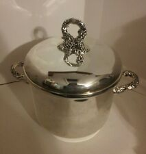 Vintage Godinger Silver Plated Grape Cluster Ice Bucket with Tongs and Liner