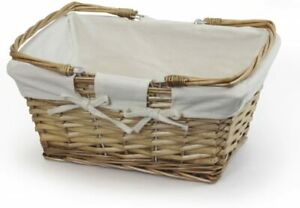 Classic Wicker Storage Basket with Cream Lining Willow Versatile Picnics/Shoppin