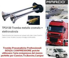 TROMBE ad ARIA COMPRESSA 12V BITONALI 118db + E/VALVOLA TIR CAMION BARCA TP2/130