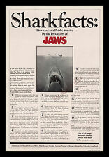 JAWS 1975 RARE ☆ SHARK FACTS ☆ UNIVERSAL 1-Sheet MOVIE POSTER ☆ STEVEN SPIELBERG