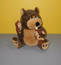 "12"" Kids of America Shake Vibrate & Sound Beaver Mommy Plush w/ Two Small Babies"