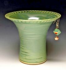 Handmade Wheel Thrown Stoneware Lime Green Earring Holder by Barb Lund