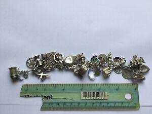 Vintage Sterling Silver Charm Bracelet (Rare Charms) No Reserve