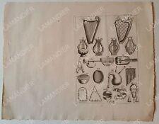 Gravure Ancienne - Instruments de Musique - Juif - Ancien Testament
