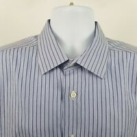 David Donahue Men's Purple Striped L/S Dress Button Shirt Sz 17.5 36/37