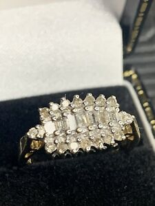 9ct 375 Gold Diamond Baguette Cluster Ring Half A Carat Of Dazzling Diamonds