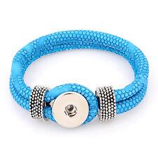 Leder ARMBAND für Chunk Click Button Druckknopf Chunks (21 cm) Türkis Blau #4130