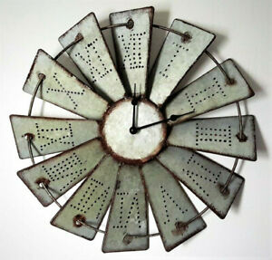 Traditional Country Farmhouse Rustic Metal WINDMILL WALL CLOCK Free Ship