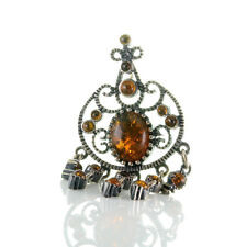 Gorgeous Pendant Genuine Silver 925 With Hanging Pampeln And Kunsbernstein