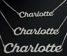 """925 Solid Silver Personalised ANY NAME Necklace Pendant 14""""- 20"""" Italian Chain"""