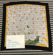 Metropolitan Museum Of Art Scarf Vintage 100% Silk Calla Lilly 30 X 30 NWOT