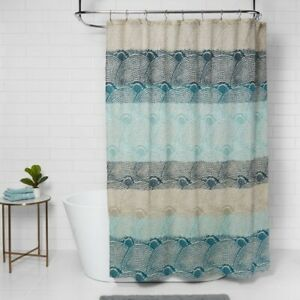 "THRESHOLD Dot Scallop Shower Curtain   72"" x 72"" Cool Blue   🆕"