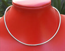VINTAGE~STERLING SILVER~COLLAR NECKLACE~SHAPED NARROW PLAIN CHOKER NECKLACE