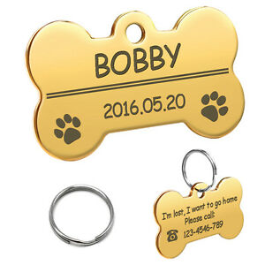 Cute Dog Tags Custom Personalized Bone Paw ID Name Collar Discs Engraved Free