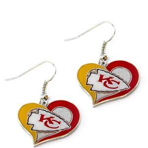 BRAND NEW Kansas City Chiefs NFL - Swirl Heart Dangle Earrings