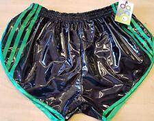 Sexy Retro PVC Sprinter Pantalones Cortos CH hasta 4XL, Negro - Verde