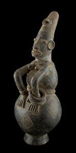 Vase Mangbetu Woman Anthropomorphic Jar 13in Pottery DRC Art African 16901