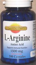 L-Arginine Amino Acid (Free Form) 1500mg  200 Capsules Freshest! High Quality