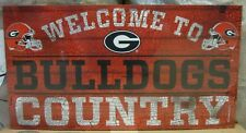 """GEORGIA BULLDOGS WELCOME TO BULLDOGS COUNTRY WOOD SIGN 13""""X24'' NEW WINCRAFT"""