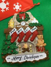"""PERSONALISED """"Fire Place"""" FAMILY OF 3,4 & 5 CHRISTMAS TREE DECORATION + GIFT BAG"""