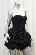 MARCHESA Black Strapless Pleated Silk Ruffle Cocktail Party Dress sz. 4