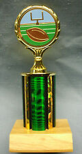 green and blue football trophy award full color insert wood base