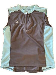Fox women's cycling jersey size small grey Aqua sleeveless