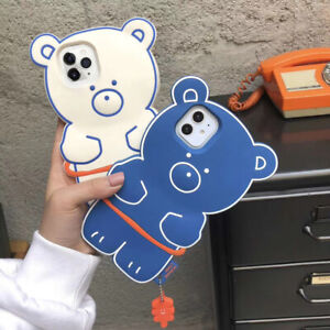 Cute Cartoon Bear Phone Case Soft Silicone Cover for iPhone12 Pro/12mini/11/XS