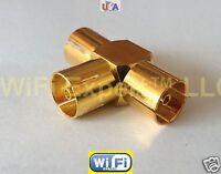 1x GOLD IEC PAL DVB Female jack to 2 Female T adapter RF connector SHIPS FROM US