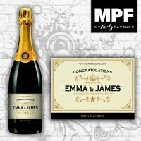 Personalised Wedding Champagne/Prosecco Bottle Label (Gold)