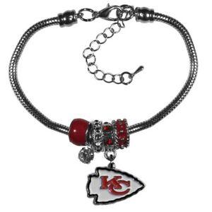 Kansas City Chiefs NFL Euro Bead Charm Bracelet Adjustable