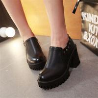 Women's Chunky High Heel Casual Retro Round Toe Platform Rivets Slip On Shoes