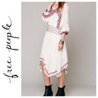 Free people neo folk embroidered gauze boho dress