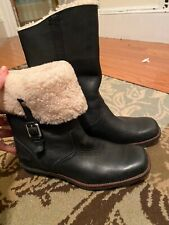 UGG AUSTRALIA Bellvue Black Leather Foldover Cuff Pull On Boots 5745 Womens 8