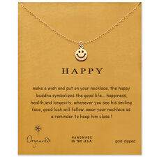 Smile Face (Happy) Gold Dipped Pendant Chain Necklace