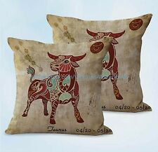 US SELLER, 2pcs Taurus Zodiac cushion cover couch pillow slipcovers